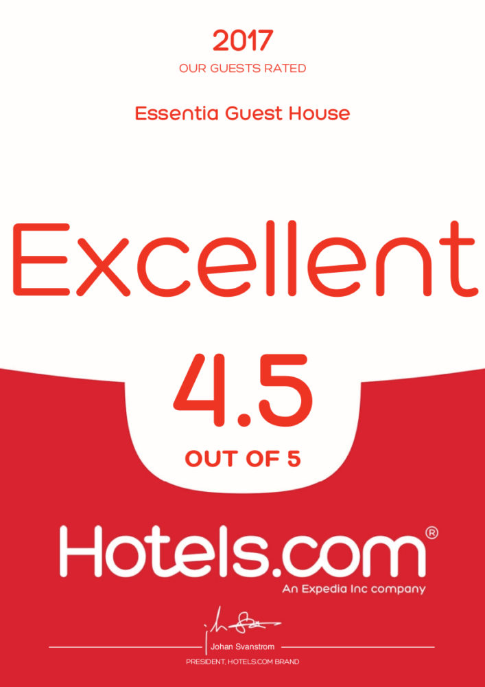 Rating 4.5/5 Hotels.com per l'anno 2016